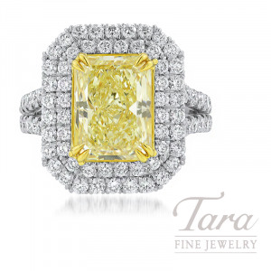 Platinum & 18k Yellow Gold Double Halo Fancy Yellow Diamond Ring, 4.01CT Fancy Light Yellow Diamond, 1.95TDW