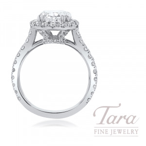 18k White Gold Oval-shape Diamond Halo Engagement Ring, 3.04CT Oval-shape Diamond, 8.1G, 1.18TDW (Center Stone Sold Separately)