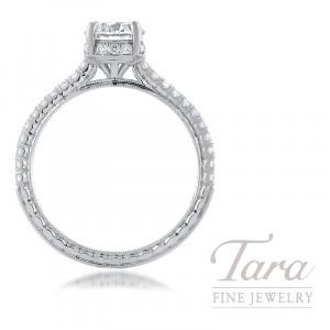 Jack Kelege 18K White Gold Forvermark Diamond Semi-Mount, 34 Round Diamonds 0.32TDW, 1.00CT Forevermark Round Diamond (Center Stone Separately)