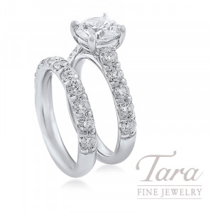 18K White Gold Diamond Wedding Set, 1.60TDW (Center Stone Sold Separately)