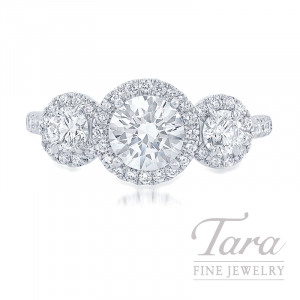 18K White Gold Three-Stone Diamond Halo Engagement Ring, 4.2G, 1.15TDW (Center Stone Sold Separately)