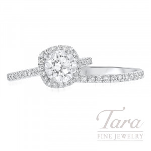 18k White Gold Diamond Halo Wedding Set, 1.37CT Forevermark Diamond, .71TDW (Center Stone Sold Separately)