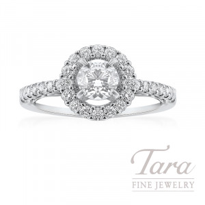 14K White Gold Halo Diamond Engagement Ring, .55CT Center Diamond, 2.9G, .40TDW (Center Stone Sold Separately)