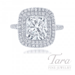 18K White Gold Double Diamond Halo Cushion Cut Diamond Ring, 3.01CT Cushion Diamond, .51TDW (Center Stone Sold Separately)