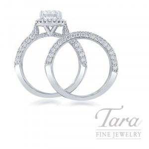 Ritani 18k White Gold Pave Diamond Halo Wedding Set, 1.60TDW (Center Stone Sold Separately)