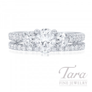 18k White Gold Oval-shape Diamond Wedding Set, .70CT Oval-shape Foreveermark Diamond, 1.36TDW (Center Stone Sold Separately)