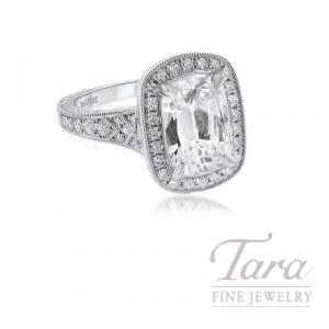 Henri Daussi 18k White Gold Halo Diamond Ring, 3.04CT Cushion, .64TDW