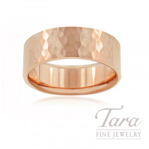 18K Rose Gold Men's Hammered Band, 13.2G