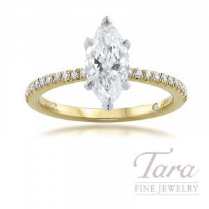 18K Yellow Gold Diamond Wedding Set (Center Stone sold separately), 22 Round Diamonds, 1.31TDW