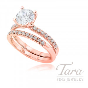 18k Rose Gold Diamond Wedding Set, .39TDW (Center Stone Sold Separately)