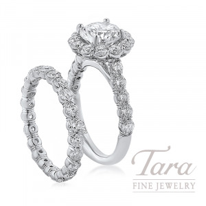18k White Gold Diamond Halo Wedding Set, 2.58TDW (Center Stone Sold Separately)