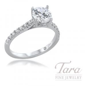 18K White Gold Diamond Semi Mount Engagement Ring; 27 Round Diamonds, 0.27TDW (Center Stone Sold Separately)
