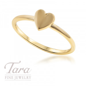 18K Rose, Yellow, or White Gold Heart Stackable Ring