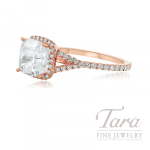 18K Rose Gold Diamond Halo Engagement Ring, 2.5G, .35TDW (Center Stone Sold Separately)