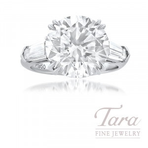 6.51CT Forevermark Exceptional Round Diamond set in a Platinum Diamond Semi Mount, 2 Tapered Baguette Diamonds 0.97TDW and 12 Round Diamonds 0.10TDW