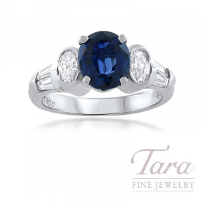 JB Star Platinum Blue Sapphire and Diamond Ring, 0.55TDW Oval Diamonds, 0.55TDW Baguette Diamonds,  3.02CT Oval Ceylon Blue Sapphire (Sold Separately)