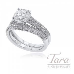18K White Gold Pave Diamond Wedding Set, .59TDW (Center Stone Sold Separately)