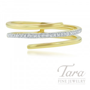 18K Yellow Gold Diamond Wrap Fashion Ring, .09TDW