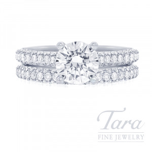 18k White Gold Pave Diamond Wedding Set - Click for Available Sizes (Center Stone Sold Separately)