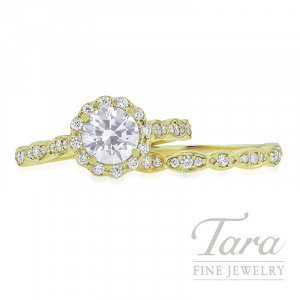 Ritani 18k Yellow Gold Diamond Halo Wedding Set, .48TDW (Center Stone Sold Separately)