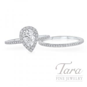 18k White Gold Forevermark Pear-shape Diamond Halo Wedding Set, .38TDW (Center Stone Sold Separately)