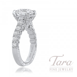 Jack Kelege Platinum Diamond Engagement Ring; 48 Round Diamonds 1.80TDW (Center Stone Sold Separately)