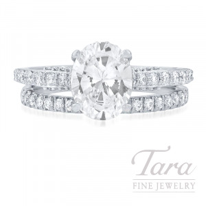Ritani 18k White Gold Diamond Wedding Set, .85TDW (Center Stone Sold Separately)