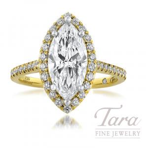 18K Yellow Gold Marquise Diamond Halo Wedding Set, 43 Round Diamonds, 0.36TDW; 2.01CT. Marquise Diamond Center Stone
