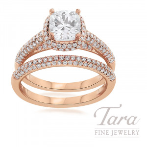 18K Rose Gold Pave Diamond Halo Wedding Set, .78TDW (Center Stone Sold Separately)