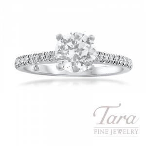18K White Gold Semi Mount Diamond Engagement Ring; 33 Round Diamonds, .17TDW (Center Stone Sold Separately)