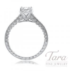 Jack Kelege 18K White Gold Forvermark Diamond Semi-Mount, 54 Round Diamonds 0.46TDW, 1.00CT Forevermark Round Diamond (Center Stone Separately)