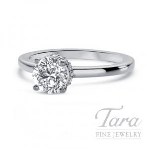 Ritani 18k White Gold Diamond Engagement Ring, 3.9G, .10TDW (Center Stone Sold Separately)
