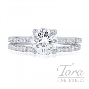 Jack Kelege 18K White Gold Diamond Wedding Set, 1.50CT Forevermark Diamond, 4.2G, .51TDW (Center Stone Sold Separately)