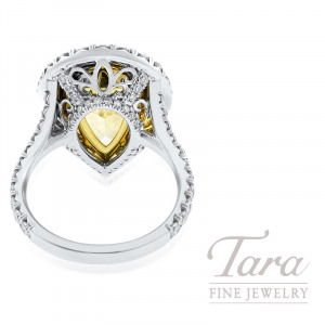 Platinum and 18k Yellow Gold Pear-Shape Fancy Yellow Diamond Ring, 8.88CT Fancy Yellow Diamond, 1.61TDW