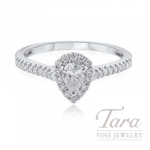 18K White Gold Pear-shape Diamond Halo Engagement Ring, 2.1G, .25TDW (Center Stone Sold Separately)