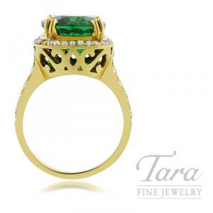 18K Yellow Gold Rectangular Cushion Cut Tsavorite & Diamond Ring, Round Cushion Cut Tsavorite 8.33CT, 42 Round Diamonds 1.18TDW