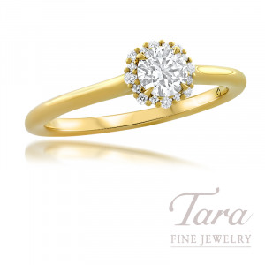 Forevermark 18K Yellow Gold Diamond Engagement Ring, Round Center Diamond 0.34 J-SI1, 16 Round Stones 0.07TDW