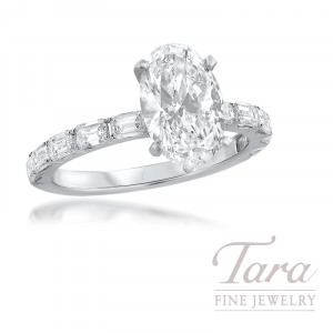 18K White Gold Oval Shape Diamond Semi Mount; 10 Emerald Cut Diamonds, 0.81TDW (Center Stone Sold Separately)