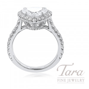 18K White Gold Heart-shape Diamond Halo Engagement Ring, 2.05CT Heart-shape Diamond, 5.3G, .81TDW