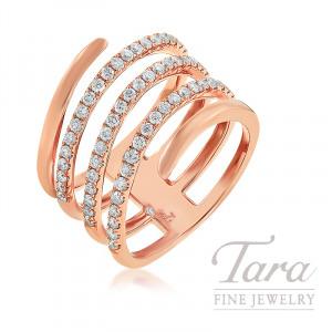 18K Rose Gold Diamond Wrap Ring, 7.9G, .65TDW