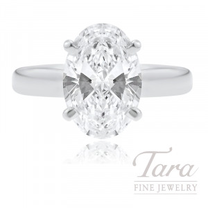 18k White Gold Oval-shape Diamond Solitaire Engagement Ring - Click for Available Sizes!