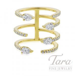 Norman Covan 18K Yellow Gold Pear-shape Diamond Fashion Ring, 7.7G, .53TDW Pear-shape Diamonds, .73TDW Round Diamonds