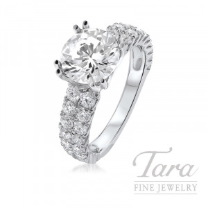 18K 2 Row Diamond Engagement Ring, 4.9G, 1.46TDW (Center Stone Sold Separately)