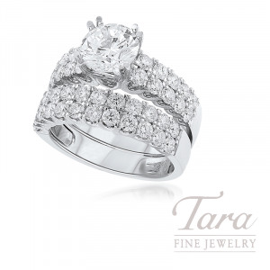 18K White Gold Diamond Wedding Set, 1.33TDW (Center Stone Sold Separately)
