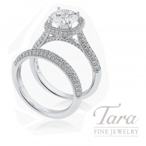 18k White Gold Pave Diamond Wedding Set, 1.02TDW (Center Stone Sold Separately)