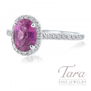 18K White Gold Pink Sapphire Diamond Halo Ring, 1.64CT Pink Sapphire, .25TDW