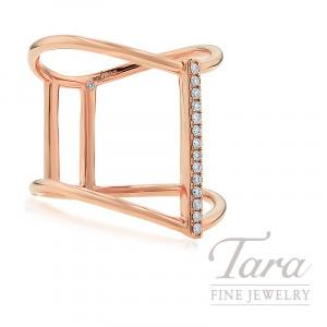 18K Rose Gold Diamond Fashion Ring, 3.8G, .08TDW