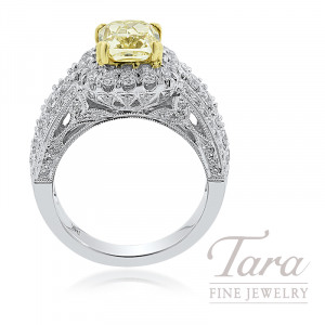 Forevermark 18K Two-Tone Fancy Yellow Diamond Engagement Ring, 2.03CT Fancy Yellow Diamond, 1.27TDW