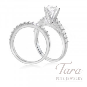 18K White Gold Round Diamond Wedding Set (Center Stone Sold Separately) - Click for Available Sizes!