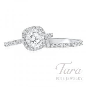 18k White Gold Diamond Halo Wedding Set, 1.37CT Forevermark Diamond, .71TDW (Center Stone Sold Separately)
